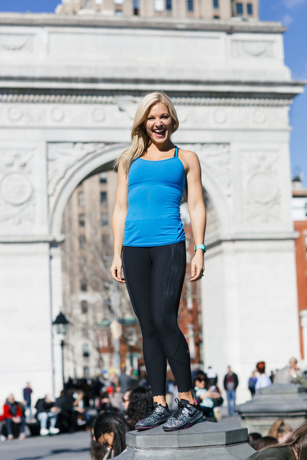Anna Kooiman New York City Fitness Washington Square Park Standing on Fountain Lydia Hudgens