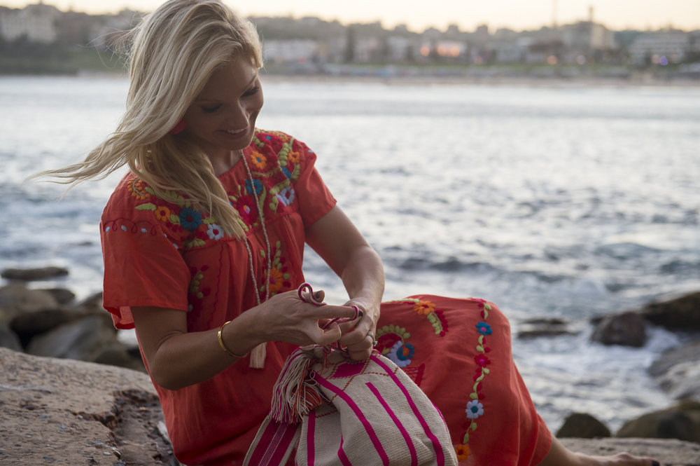 Anna Kooiman Bondi Beach Orange Dress Flamingo Merchant Bohemian Style North Bondi Boats Fitness Travel Lifestyle