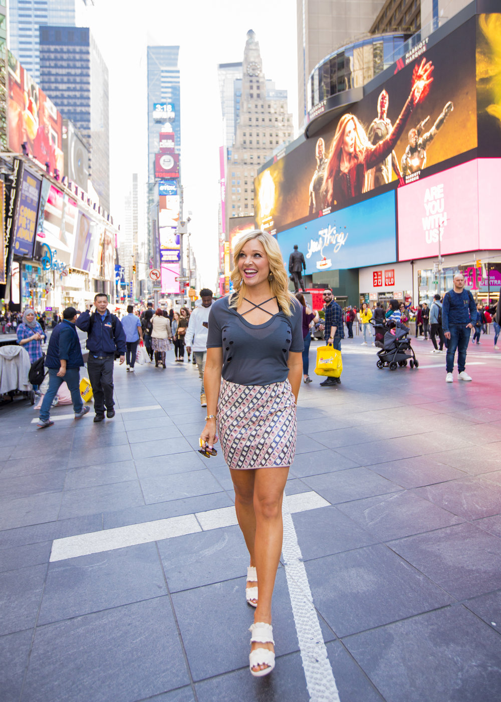 Anna Kooiman New York City May 2018 Introducing 3 month old Brooks to the USA on fox and friends times square kk bloom katherine kirchner