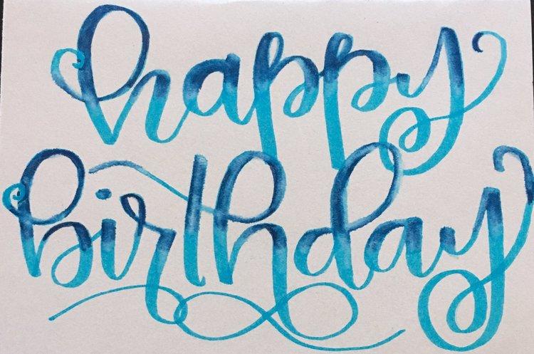 happy birthday fancy Card — CalligraBREE happy birthday fancy