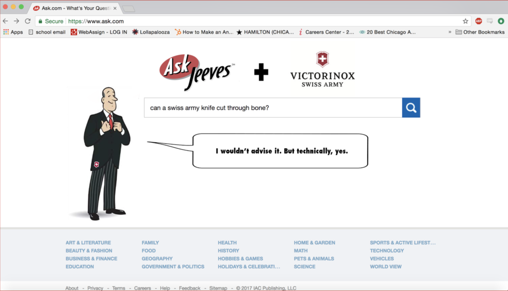 Swiss Army Revives Ask Jeeves To Answer Your Crazy Questions