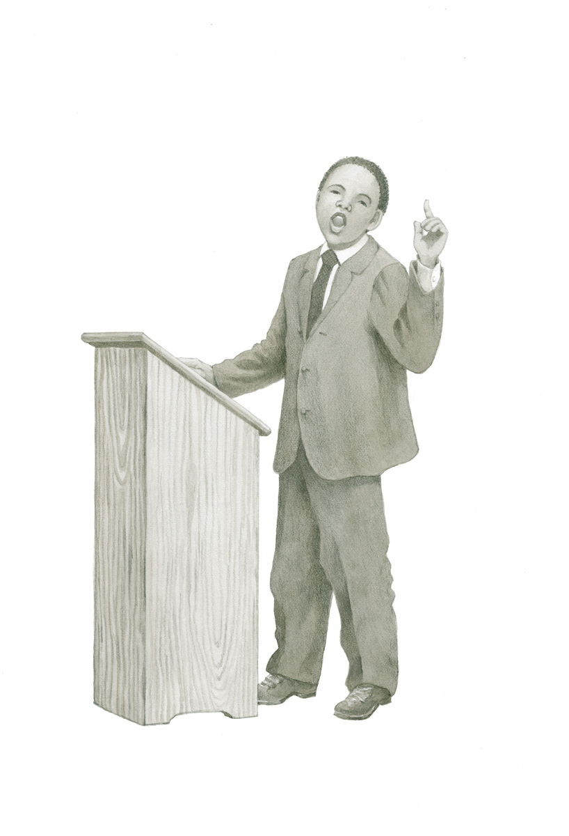 Illustrations of historic people as they would have appeared as children: Martin Luther King