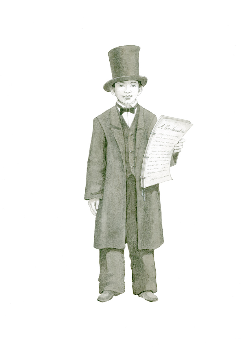 Illustrations of historic people as they would have appeared as children: Abe Lincoln