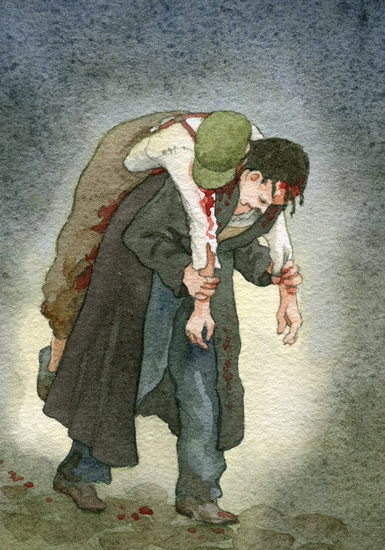 Gavroche had been killed—Marius carried his body.