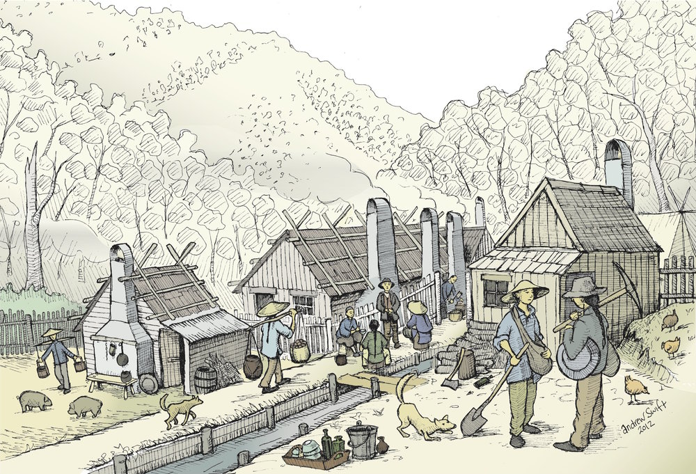 Speculative reconstruction of part of the Harrietville Chinese Village (illustration by Andrew Swift)