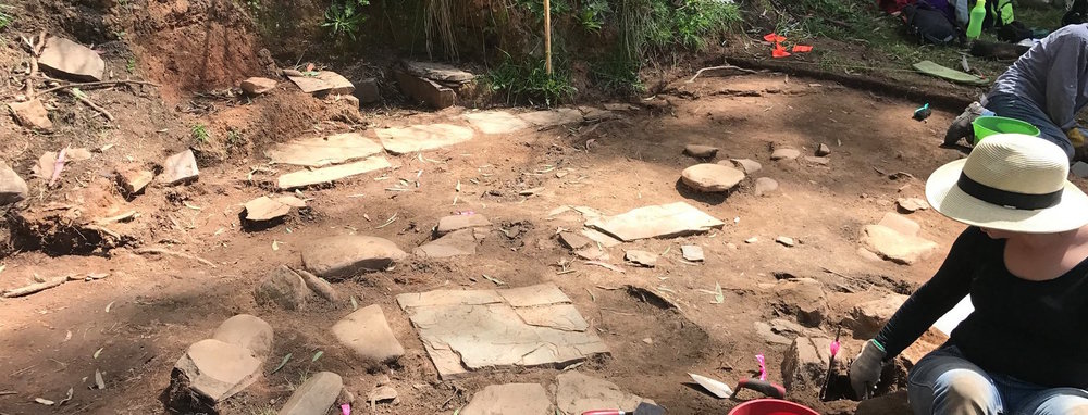Excavation of Stone Feature 1 site at Harrietville Chinese Mining Village, Victoria, in October 2017 (photo: Melissa Dunk)
