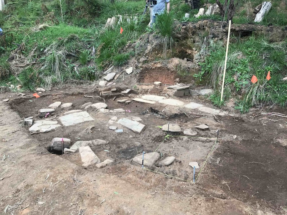 Stone Feature 1 - Full extent of remaining floor stones becomes evident (photo: Melissa Dunk)