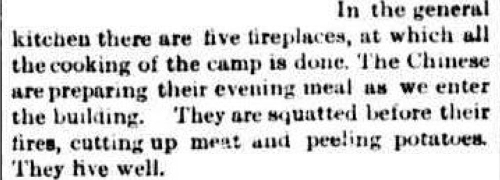 Here's the part of the 1884 article which describes the kitchen at the Harrietville Chinese Mining Village. The Argus (Melbourne), Saturday 23 August 1884, page 4. http://nla.gov.au/nla.news-article6055923