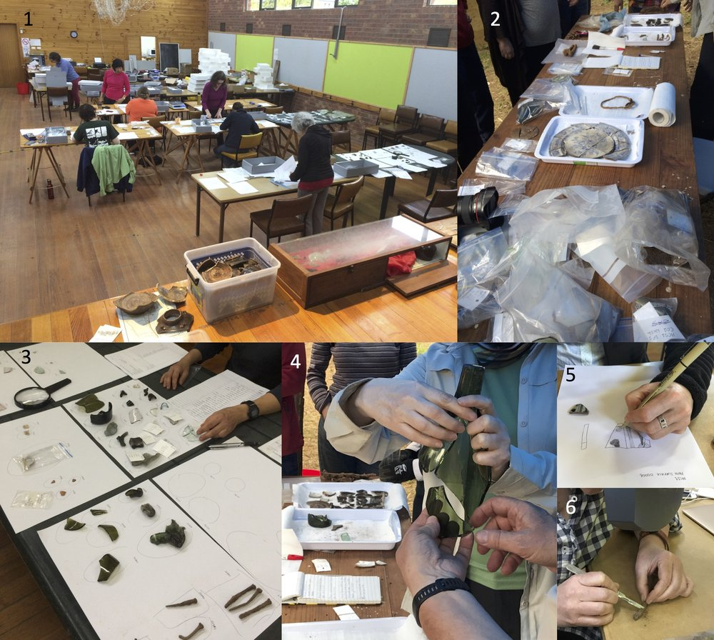 Object processing: (1) Cataloguing workstations in Harrietville Hall; (2) First-stage processing on-site; (3) Sorting prior to cataloguing; (4) Conjoin analysis of bottle; (5) Technical illustration; (6) Conservation cleaning