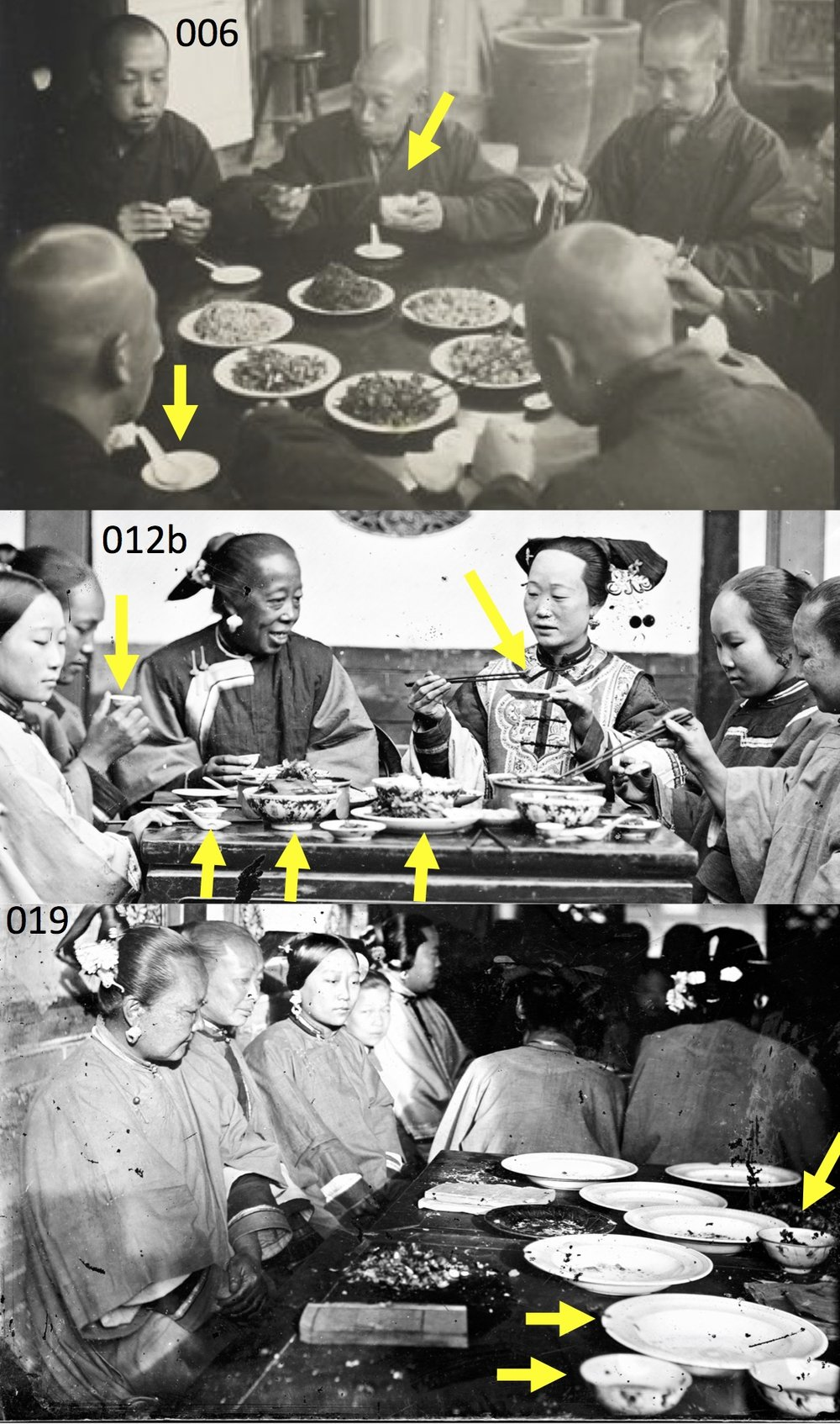 Chinese food eating, contexts 3 and 4—several dishes of food on a table, with smaller bowls and small plates for eating. Image 006: Monks at a table eating on Miaofeng Mountain, North China, ca 1933–1946 (photo by Hedda Morrison ca 1933–1946a). Image 012b: Manchu ladies at meal table, Peking, ca 1870 (John Thomson ca 1870). Image 019: Manchu ladies mission party, Peking, 1869 (John Thomson ca 1869). [Web sources for images are listed in article]