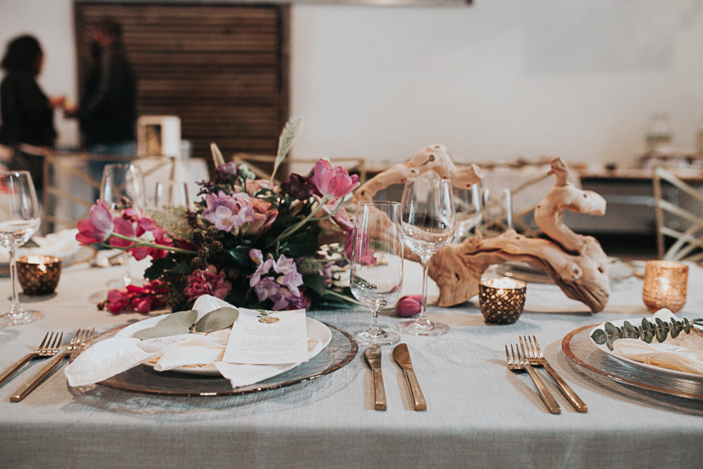 Table setting and florals by Whim, menu by Pink Champagne Paper