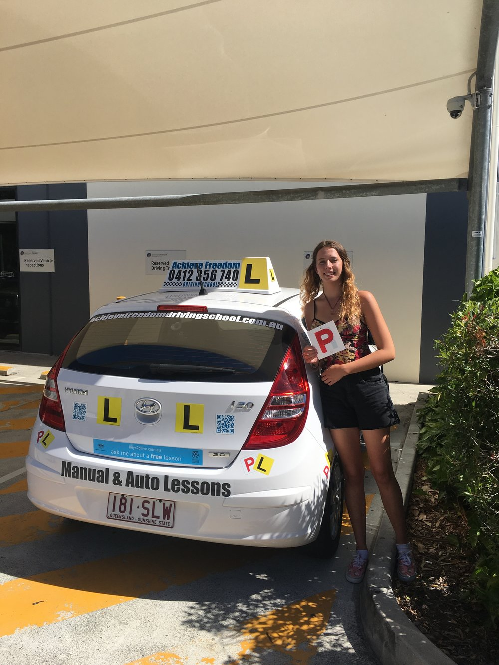 Shania Passed her driving test with Achieve Freedom Driving school at the Currumbin driving test center.