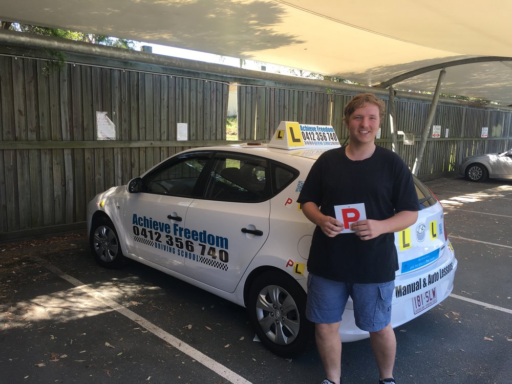 Tom Passed first try with only two minors at the Burleigh Heads Driving test center. He told me he thought he would never pass his driving test especially in a manual car, Achieve Freedom Driving School will help you get your driving licence, no worries! call 0412356740