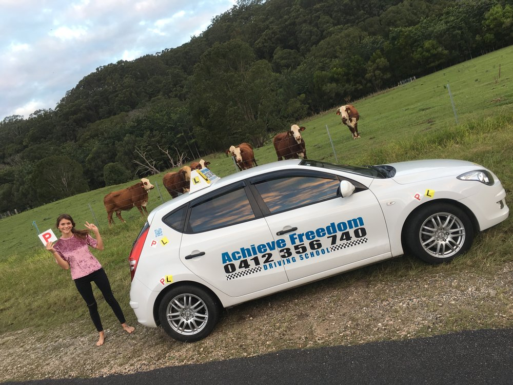 Maddie Stewart passed her driving test at the Currumbin Transport and Main Roads, this picture was taken in the valley after her test on the way home, great photo, congratulations on passing first attempt in the automatic i30.
