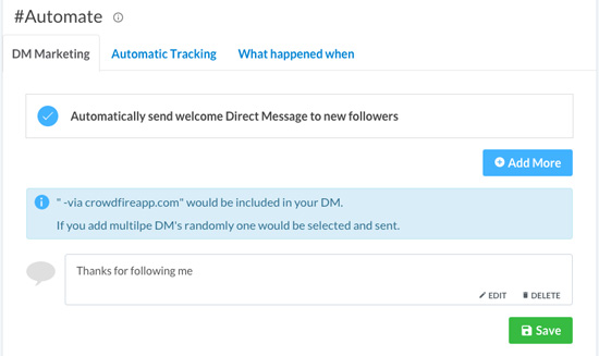 Setting up DM automation on Crowdfire