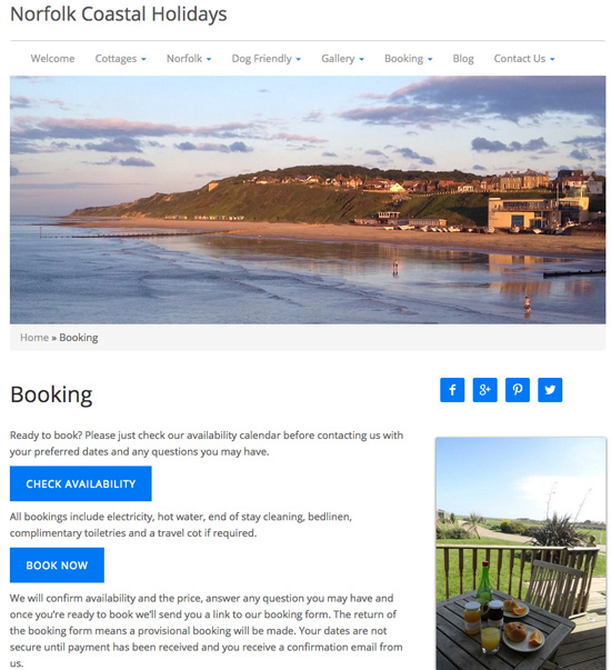 Clean and simple - the booking page of the Norfolk Coastal website