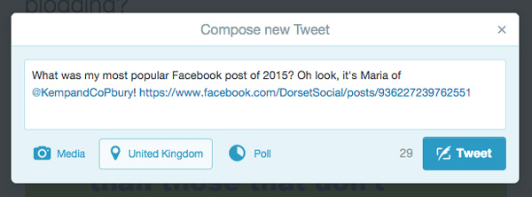 Telling Twitter about my most popular Facebook post