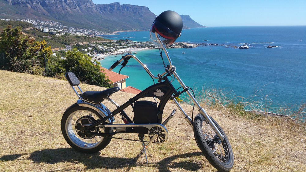 Electric Chopper conversion - our team had a lot of fun test riding this one before delivery to customer :-) 1500w rear direct drive hub motor conversion.