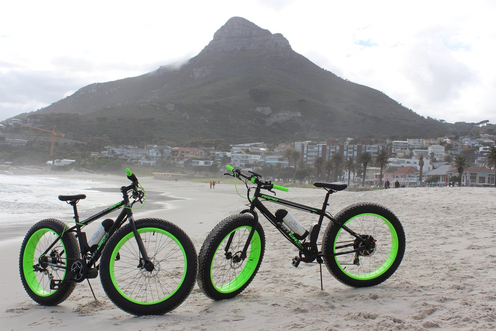 Camps Bay beach test ride on two powerful electric fat bikes. These ended up on the west coast where they frequently ride on beaches and sand dunes.