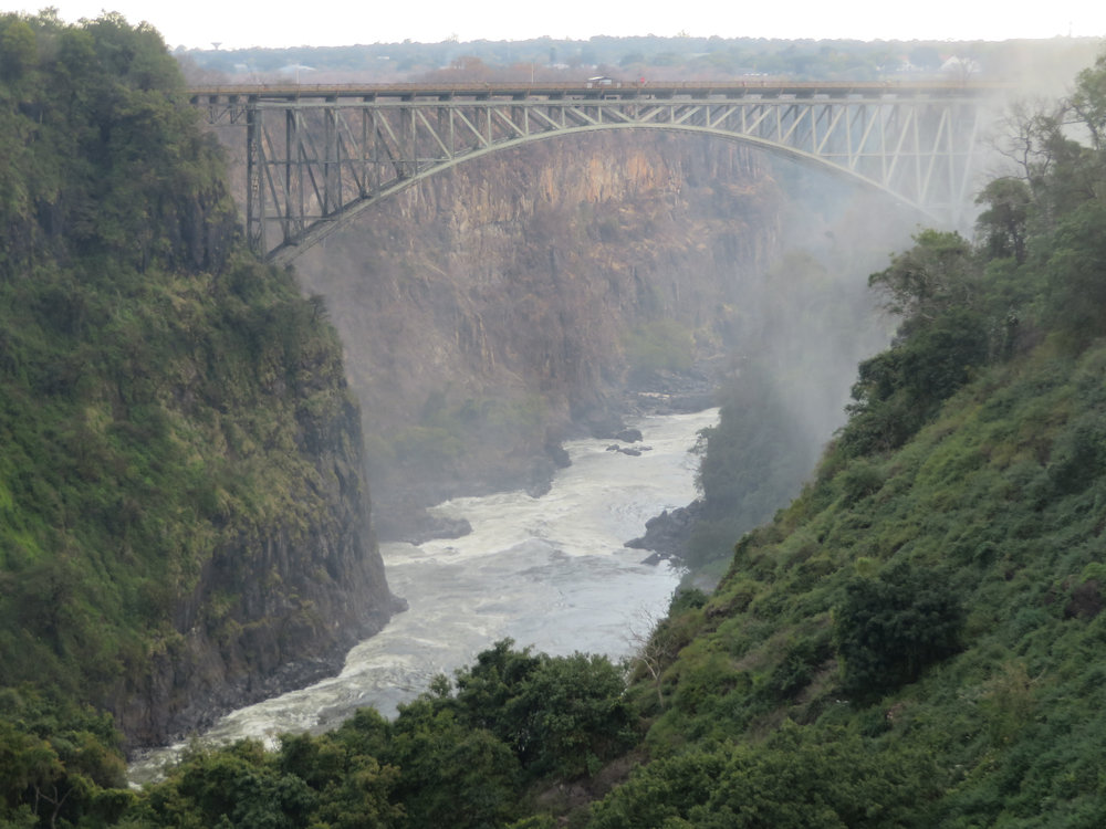 After the falls the railway bridge to Zimbabwe and crazy bungee jump platform
