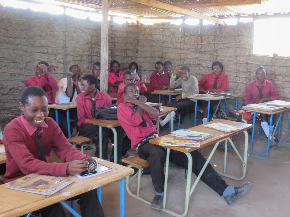 Nakabunze temporary classroom. The new classroom is being built now thanks to your fundraising