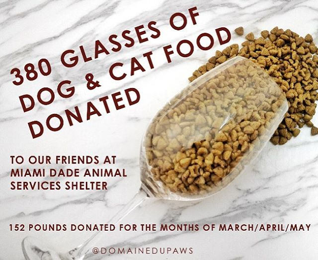 Thank you to all our friends for helping us make this happen. Without wine and you this would not be possible. We donated 152 pounds of 🐶&🐱 food to Miami Dade Animal Services which provides refuge for 30,000 🐶&🐱 annually. They work with several rescues to share in their goal of a no kill Miami-Dade County.