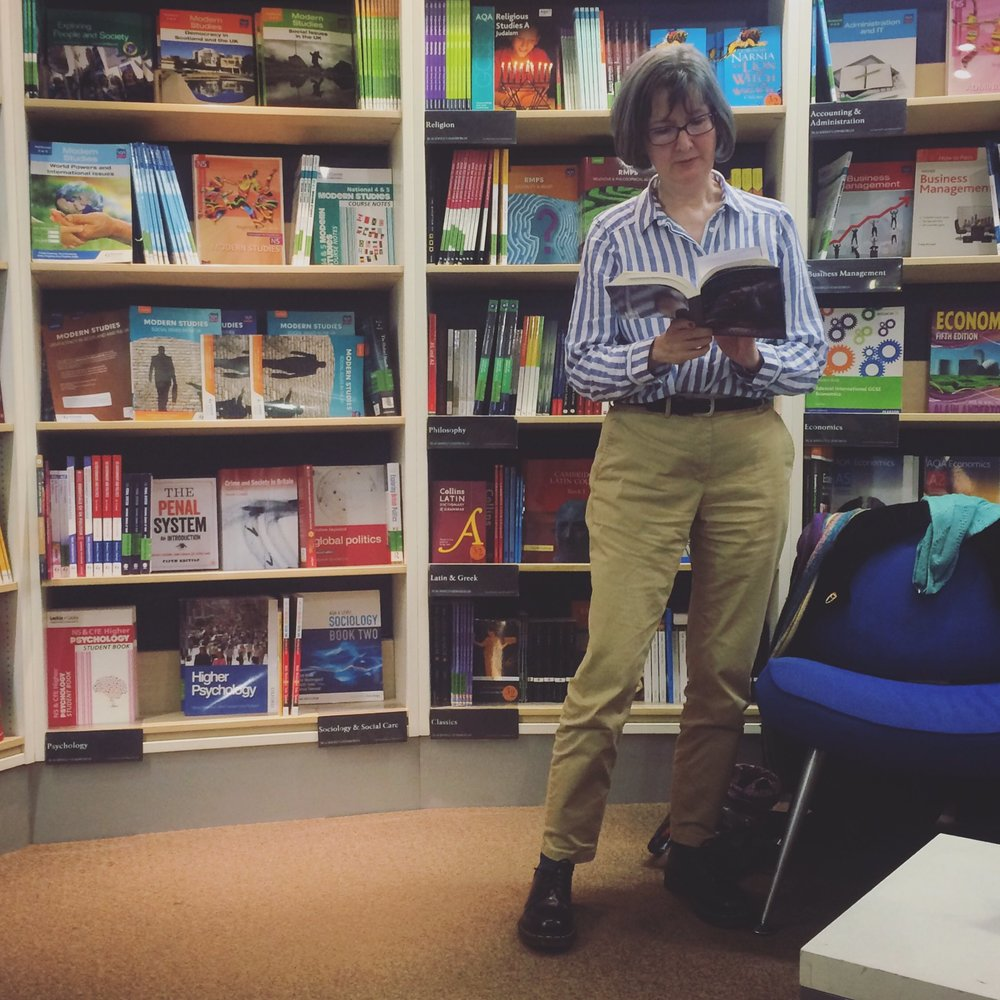 Heather Richardson reading from her novel, Doubting Thomas, at our Edinburgh launch in Blackwell's South Bridge.