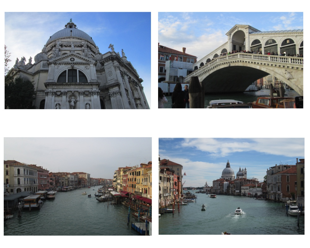 The Santa Maria Della Salute, the Rialto Bridge, and views of the Grand Canal.