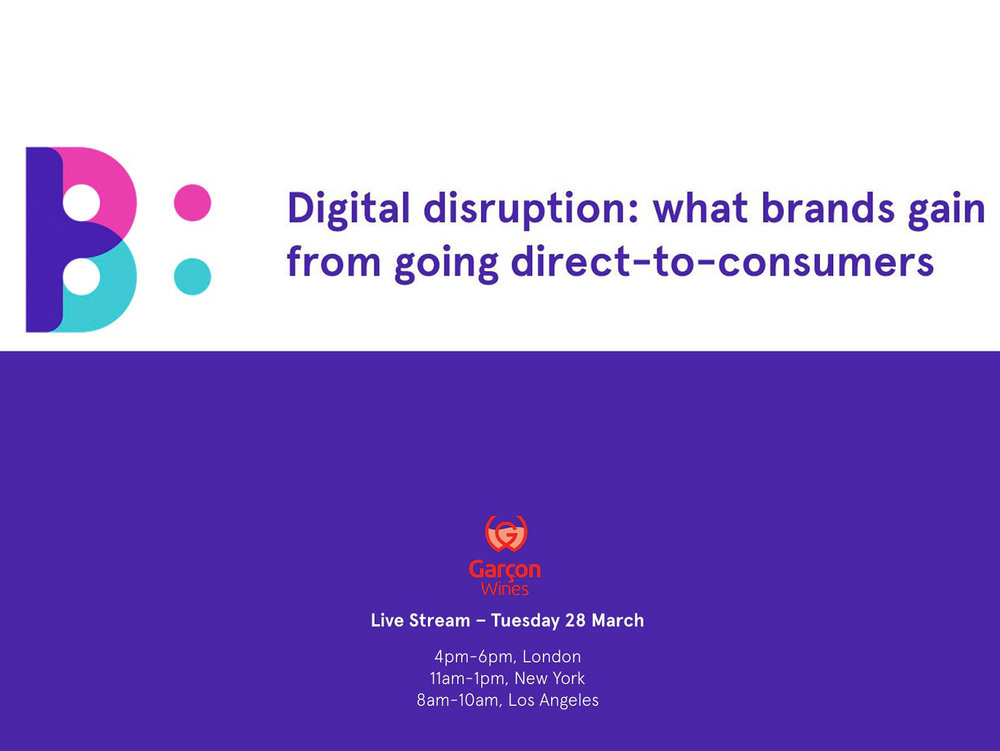 SPARK SESSION: DIGITAL DISRUPTION - We were invited to share our game-changing insights into the direct-to-consumer (DTC) revolution with The Big Picture's live-streamed Spark Session on Digital Disruption. The global insight agency understands better than most how innovators like us put consumers at the heart of design. We joined like-minded disruptors Birchbox in a live session streamed through London, New York and Los Angeles.Dare to be different ... and create lifetime value, our co-founder Santiago Navarro told the Spark Session audience. Few people know more about the state of play in entrepreneurial wine retailing and the industry supply chain.