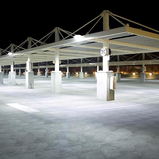 LED lighting is a beautiful choice for parking lots and garages