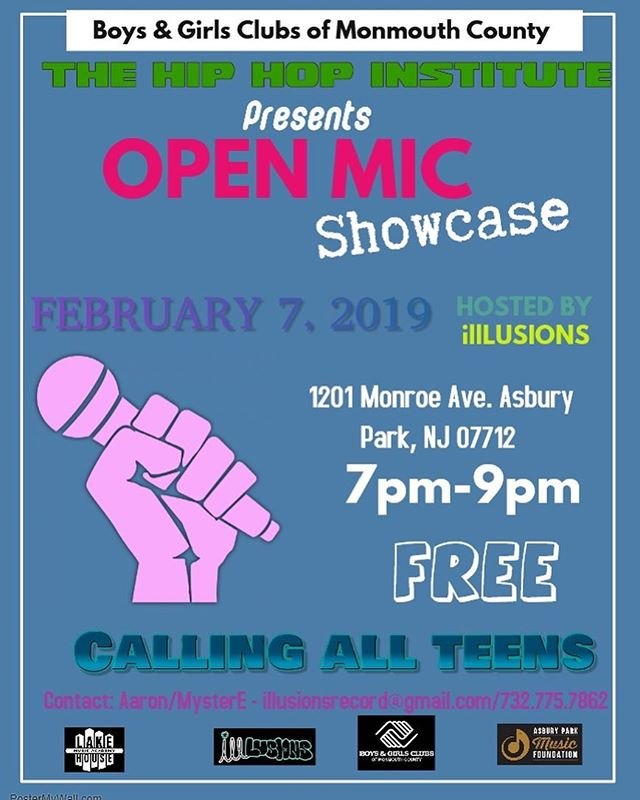 Open mic this Thursday! Who will we see there?🎤 #openmic #asburypark #wheremusiclives #hiphopinstitute #boysandgirlsclub #localmusic #lakehousemusic #motorecords