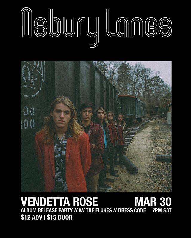 ❗️TICKETS ON SALE NOW❗️ @vendettaroseband album release March 30th at The Lanes with @flukesband & @dress_code_band link in bio!! . . . . . #livemusic #asburypark #motorecordsap #motorecords #asburylanes