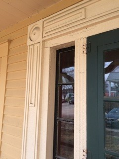 close up of Greek Revival door frame at Pickering House Wolfeboro