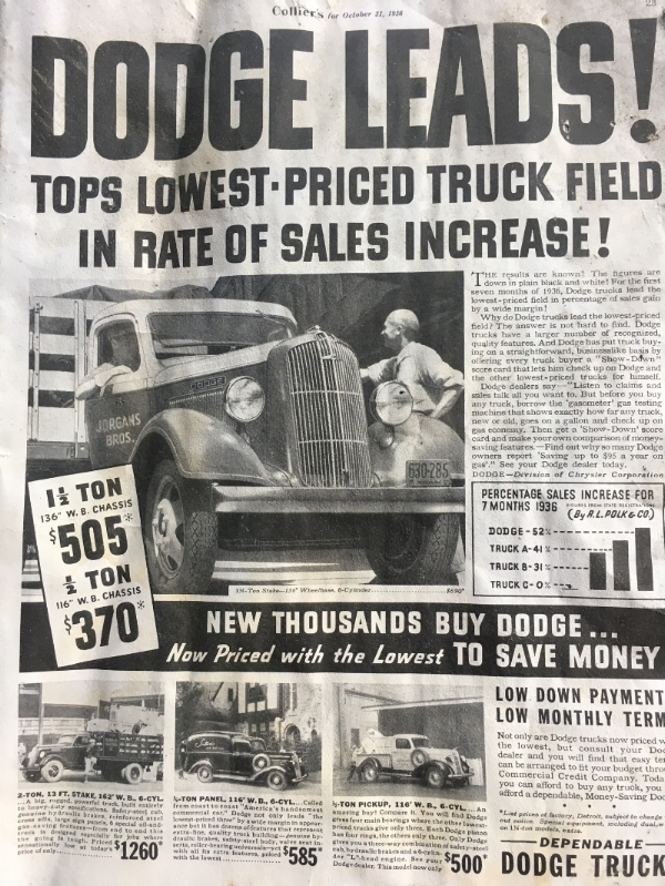 Wish we could still buy a pickup for $500!