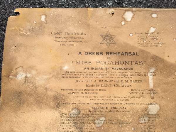 """An old program for a 1906 dress rehearsal for """"Miss Pocahontas-An Indian Extravaganza"""" at Boston's Tremont Street Theater."""