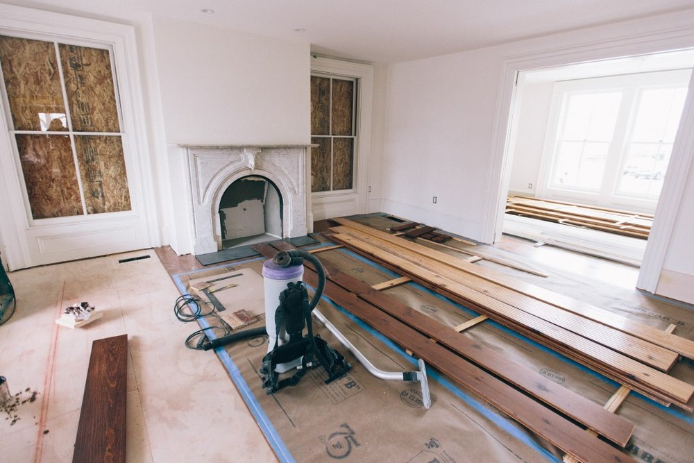 Gathering Room with original marble fireplace
