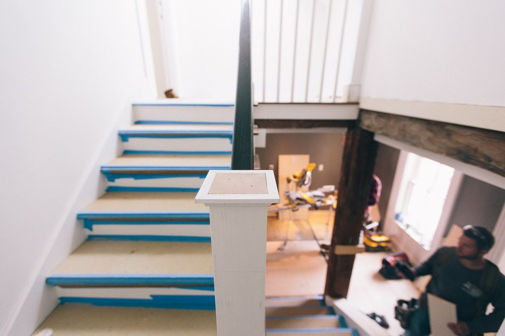 Staircase leading to third floor guest rooms