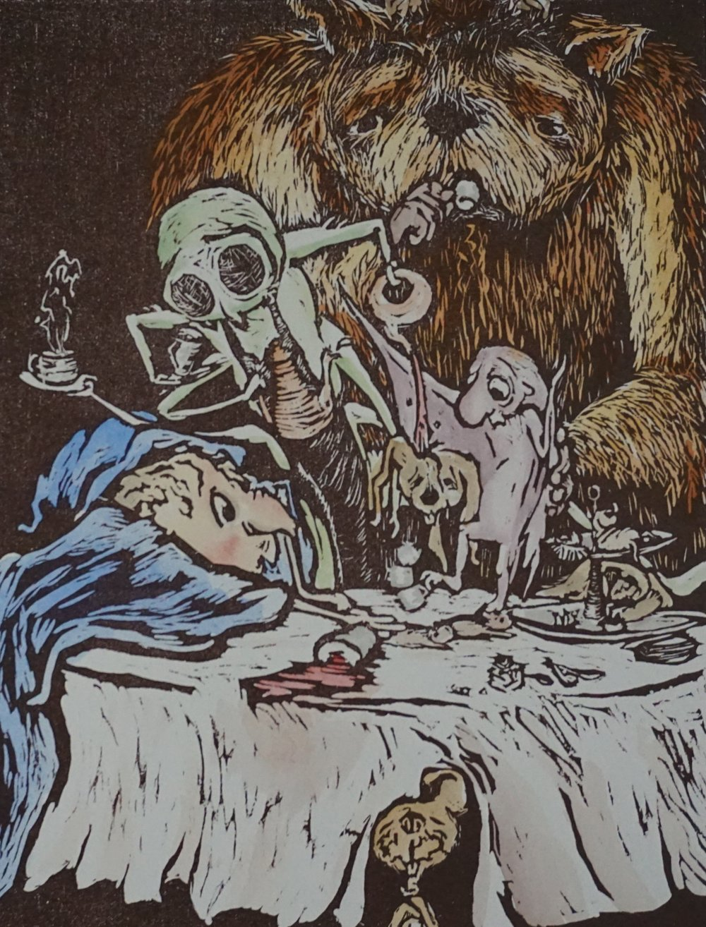 """Tea Party"". Woodblock print and watercolor. 2015"