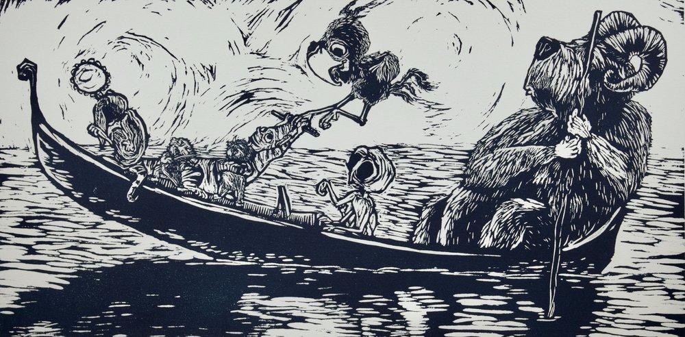 """Lagoon Ensemble"". Woodblock print. 2017"