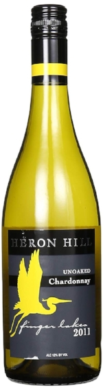 Heron Hill Classic Chardonnay Unoaked  , $11 - $15  bright fruit notes—displaying cantaloupe or hints of green apple and lemon—command a fascinating taste worth trying. Pair this wine with seafood, nutty cheeses, or a homemade shrimp scampi .