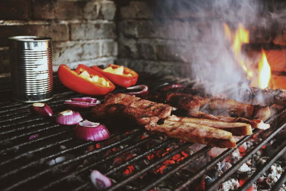 Grilling up our own dinner on the Parrilla.