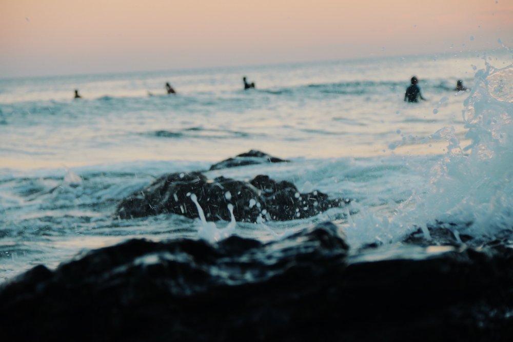 Surfing until dark.