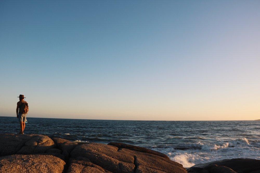 The rocky beach of Punta Del Diablo