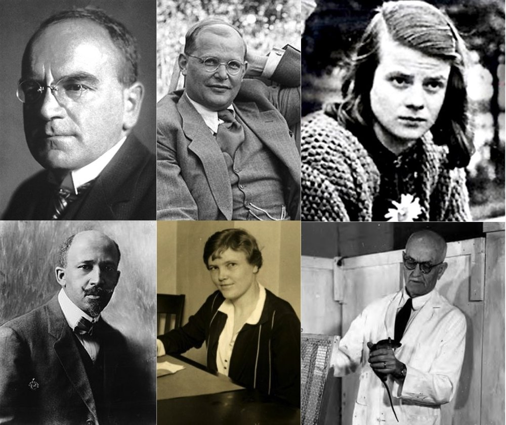 Academics have often resisted governments' attempts to silence thought and speech. Above are pictured a few who put their careers and often their lives on the line to preserve freedom. Clockwise from upper left: Heinrich Otto Wieland, Dietrich Bonhoeffer, Sophie Scholl, Edward Tolman, Esther Brunauer, and W.E.B. Du Bois.