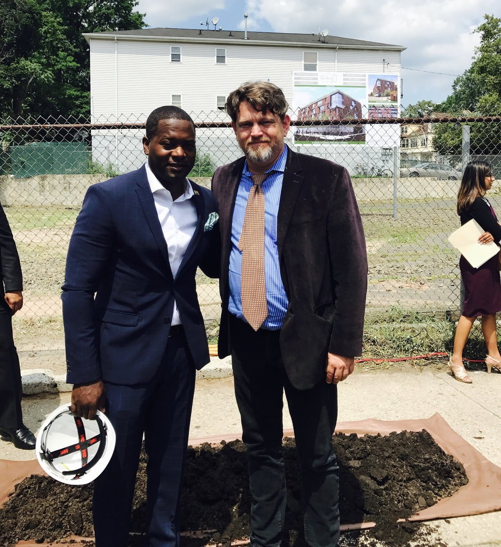 Newark native and developer, Kiburi Tucker and C+C Architecture Principal, Frederick Cooke.