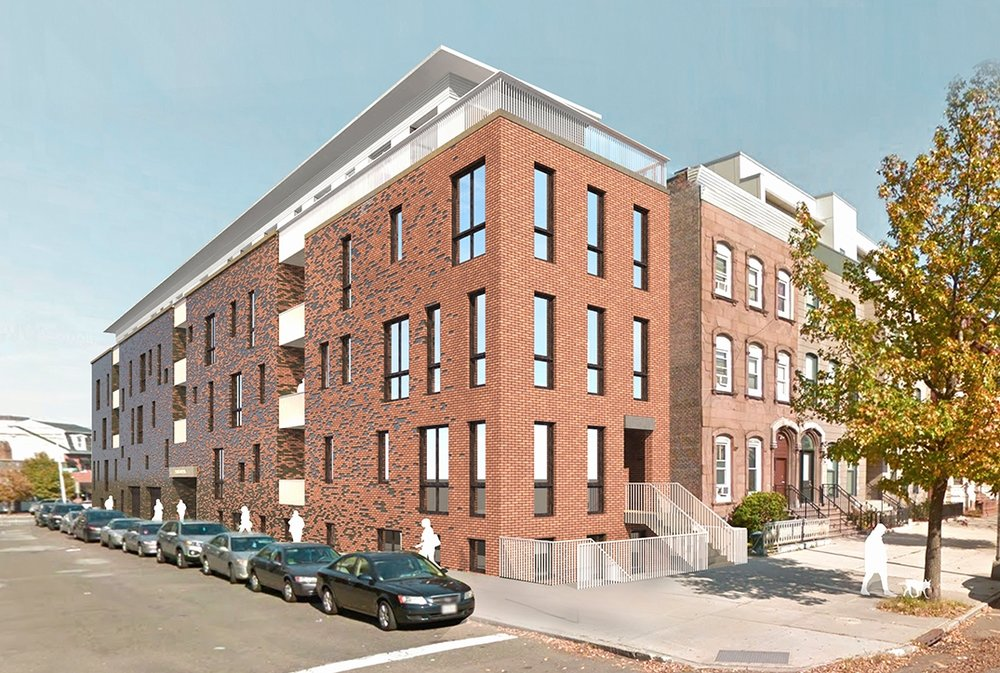 Project rendering - View from Lincoln Park corner Halsey St.