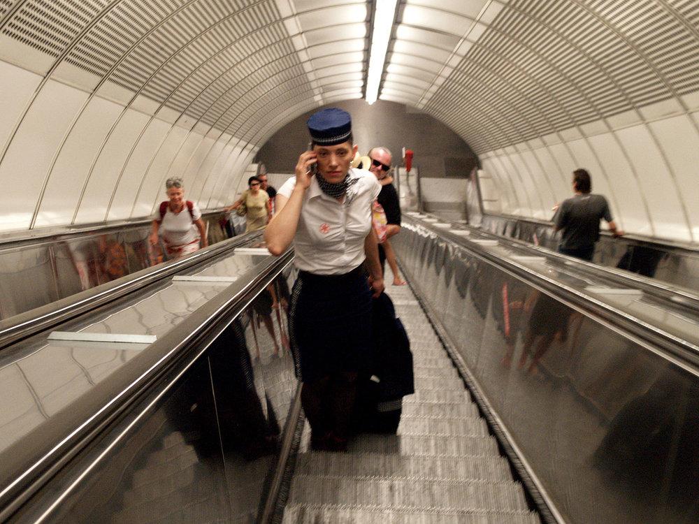 Up and down many escalators