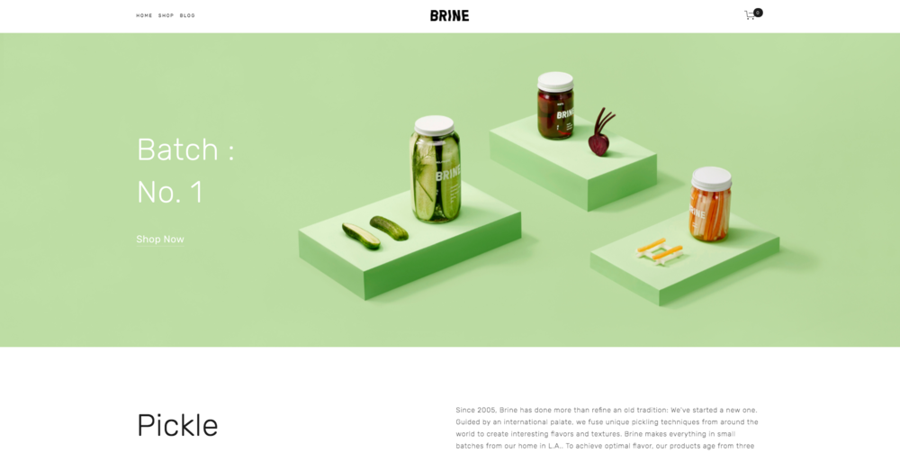 The homepage of Squarespace's Brine Template.
