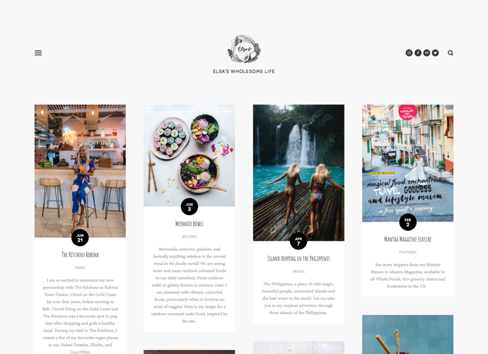Click the image to see Squarespace's Tudor template in action at Elsa's Wholesome Life!