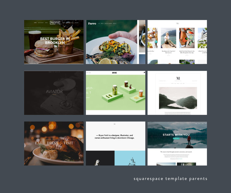 How to pick the perfect squarespace template for your business squarespace separates their templates into families that contain a parent template and child template parent fbccfo Gallery